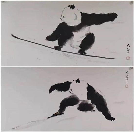 """张大华先生――为双奥之城添彩,""""国宝熊猫""""水墨展圆满举办!"""